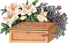 Oblaten Glanzbild scrap die cut chromo  Blume 14,5cm  flower Kiste box
