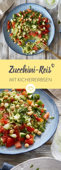 Low Carb am Feierabend: Mach fluffigen Gemüsereis aus deinen Zucchininudeln und verfeiner sie mit Tomaten, Kichererbsen und Kräutern.