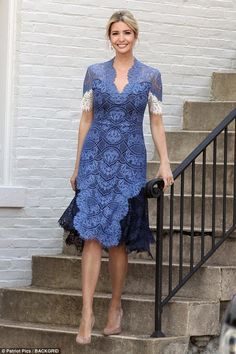 Style queen: Ivanka Trump looked incredibly elegant as she made her way down the front ste...