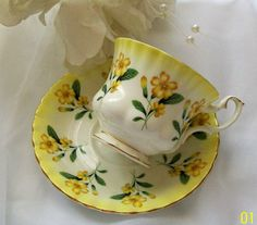 Royal Albert teacup yellow floral teacup  vintage by NewtoUVintage