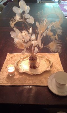 DIY Lunaria and Bleached Peacock Feather Wedding Centerpiece Kit.  10.00 d10da0e772e8
