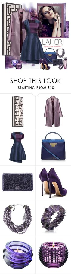 """LATTORI designer dresses 58."" by carola-corana ❤ liked on Polyvore featuring George Kovacs by Minka, Rochas, Lattori, Kurt Geiger, Chanel, Casadei, Lia Sophia, Bling Jewelry, Orrefors and Baccarat"