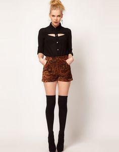 Minkpink 'Hendrix' Paisley Velvet Waisted Shorts