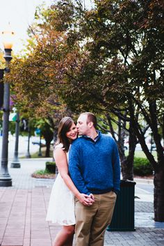 Love the downtown images from this session!! | Charlotte wedding, Charlotte wedding vendors, engagement, engagement session, Fall, NC wedding, NC wedding vendors, blue, bride, Engagement, fall