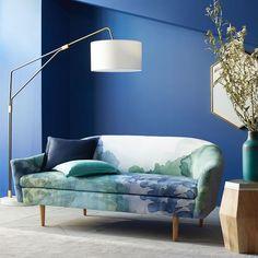 Billie Tightback Sofa, Roar + Rabbit Landscape Print, Linen