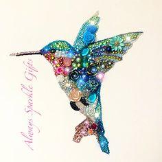 Amazing sparkling framed hummingbird mixed media & Button art.
