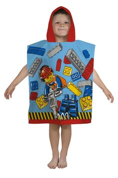 Shop online for Children's Lego City Construction themed Hooded Towels. Buy from Kids Mega Mart for Australia Wide Delivery! Online Shopping Australia, Hooded Poncho, Beach Bath, Lego City, Bath Towels, Hoods, Construction, Cotton, Building