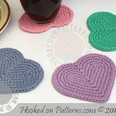 Free Heart Coaster Crochet Pattern and tutorial at Hooked On Patterns.