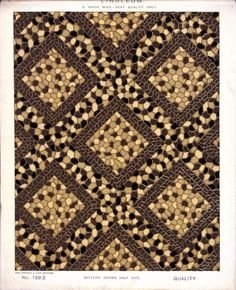 George Harrison & Co (Bradford) :Linoleum, 2 yards wide - best quality only. [Diagonal geometric mosaic pattern]. No. 139/2. Pattern shown half size. [1880s?]