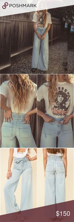 Free People Belted Bell Bottoms Super dope '70s throwbackThese high waisted babies have an adjustable belt and a wide leg flare. So comfy- made with super soft & lightweight denim. 100% cotton. NWT. Free People Vintage Styles Exclusive. rare & hard to find. rcvd 2 pairs as a gift. keeping one for myself. *will upload actual pic. Free People Jeans Flare & Wide Leg
