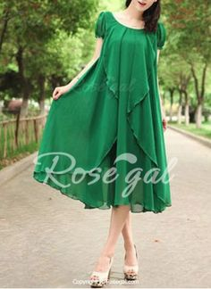 Refreshing Style Scoop Neck Solid Color Lace-Up Short Sleeve Chiffon Dress For Women Maxi Dress With Sleeves, Chiffon Dress, Fashion Wear, Fashion Dresses, Maxi Dresses, Sammy Dress, Classy Dress, Green Dress, Vintage Dresses