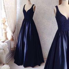 Navy Simple Prom Dresses, Satin Prom Dress, Sexy V neck Prom Gown, Elegant Evening Dress