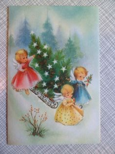 Vintage Paramount Christmas Greeting Card 6x4 Sweet Little Angels and Tree