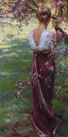 ⊰ Posing with Posies ⊱  paintings of women and flowers - by herminia