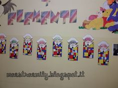 scuola dell'infanzia, classe, sezioni, bambini, maestra, Emily, decorazioni, pannello, maestraemily.blogspot.it, 2017, carnevale, arte, Mondrian, forme geometriche, colori, primari, modelli, arlecchino