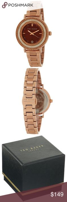 "Ted Baker 10018717 Women's Rose Gold Leather Band ""New gorgeous authentic Ted Baker 10018717 women's rose gold steel band, rose gold case, analog brown dial, Japanese quartz movement, 50 meters water resistant feature and 38mm case diameter with stylish look. A classy watch is all you need to make any attire look more attractive. This timeless creation looks appealing. These Timepieces are definitely watches to keep your eyes on, this very eye-catching and modern watch is the perfect…"