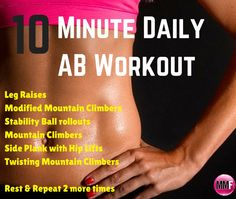 10 minute ab workout you can do daily right from home. Try this challenge to get your abs tighter, leaner and flatter. Join this 14 Day ABS & Butt & Clean Eating Challenge.  Been needing some motivation? *Jumpstart* your weight loss with this! Quick daily workouts for the ABS & BUTT. Videos & Pictures included. 14 Day Easy To Make, Healthy & Delicious Meal Plan. See results in 14 days.  http://michellemariefit.com/14-day-clean-eating-abs-butt-challenge/