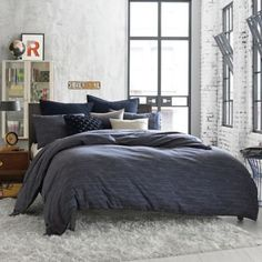 Kenneth Cole Reaction Home Element Reversible Duvet Cover in Indigo - BedBathandBeyond.com