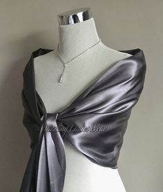 Dark Silver or Light Silver/Grey satin shawl Large Satin Shawl / Wrap / Stole / Bolero / Shrug  - Wedding/Bridal/Formal