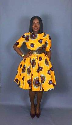 Valerie flared dress is a African print and fit flare dress that is flattering on a variety of figures. Try this short sleeve, yellow version on hot Ankara for size! The dress is bent through the bust and sleeves, and flares in a full circle - Best African Dresses, Latest African Fashion Dresses, African Print Dresses, African Attire, African Wear, African Dress Patterns, African Fashion Traditional, African American Fashion, African Print Fashion