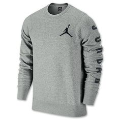 Jordan Flight Classic Fleece Crew Men's Sweat Shirt 2XL Grey/Black [619445-063] #Jordan #AthleticSweatshirts