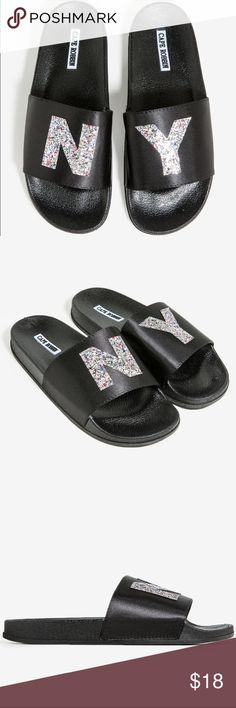 """So Hypnotizing Sandal New with Box A molded rubber slide sandal with a wide vamp strap and coarse cut confetti glitter """"NY"""" embellishments.  Measures approx. 1"""" heel height Made in China  All Man Made Materials  ✔️All Reasonable Offers Accepted ✔️Bundled Discounts❗️ ❌NO LOWBALLING Thank you for stopping by❗️Make an offer❗️ CAPE ROBBIN Shoes Sandals"""
