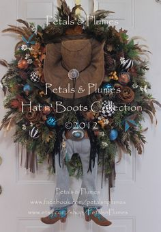 western wreath cowgirl diva fall wreath my parents need this for their door - Western Christmas Decorations