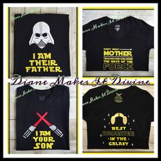 Star Wars Family T-shirts-- A set of Star Wars shirts for the whole family!!  This listing is for ONE shirt. Dad: I AM THEIR FATHER Mom: Every great mother teaches her children the ways of the force Sons: I AM YOUR SON Daughters: Best daughter in the galaxy Aunt: Yoda best aunt ever I put the styles of shirts in the selection choices so you can choose which one you want in case you are just wanting to order one single shirt. These shirts are handmade to order. Made with t-shirt vinyl on a…