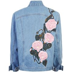 """""""WEEDY"""" SILK RIBBON EMBROIDERD DENIM JACKET (2,940 CAD) ❤ liked on Polyvore featuring outerwear, jackets, coats, denim, tops, blue denim jacket, embroidered jean jacket, silk embroidered jacket, denim jacket and jean jacket"""