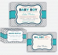 Boy Baby Shower Invitation, Thank You Card & Diaper Raffle Tickets | Party Printables, Invitations, Announcements & More! | Your Main Event Prints