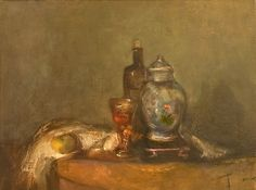 """Original Steve Binetti painting. Title: """"Still life with Vase and Wineglass"""".  Oil on canvas.  Signed on the backside """"Steve Binetti Still life with Vase and Wineglass 1996-2007"""". Size: 46 x 35 x 4 cm.  (please note: dimensions are given in centimeters) Weight: ca. 1200 gr. Shipping weight ca. 2200 gr. Condition: perfect."""