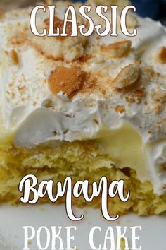Classic banana poke cake is an easy go-to dessert from Adventures of a Nurse that combines moist cake, banana pudding, Cool Whip, and Vanilla Wafers for an irresistible treat that everyone will love. It's so decadent and is an awesome dessert for special occasions! Pudding Cake Mix, Banana Pudding Cake, Great Desserts, Delicious Desserts, Yummy Food, Easy Family Meals, Family Recipes, Easy Meals, Poke Cake Banana