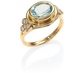 Temple St. Clair Classic Color Aquamarine, Diamond & 18K Yellow Gold... (€2.480) ❤ liked on Polyvore featuring jewelry, rings, apparel & accessories, aquamarine diamond ring, blue diamond rings, band rings, aquamarine band ring and gold band ring