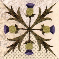 Sewing Block Quilts Love this thistle quilt block! Would Make a good felt peice - Celtic Quilt, Applique Quilt Patterns, Pattern Blocks, Applique Ideas, Quilting Projects, Quilting Designs, Flower Quilts, Barn Quilts, Mini Quilts