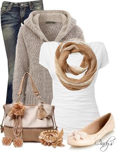 Beige with jeans. Great for fall, with the sweater!