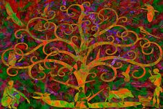 The Tree of Life - Spring      Beautiful glowing rich oranges, greens,reds and violets.The tree of life in the Garden of Immortality.   The theme of regeneration based on the vegetative model of orientation.   S. N. 'Magnificently Beautiful!!!'   C. M.  'Its a lovely artwork!'   V. M. M. 'I love this!' 'I've never seen anything so beautiful! Wow'  S.S.R. 'Wow Ek hou hiervan!'