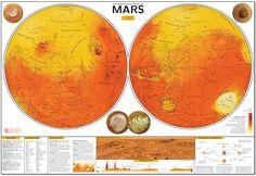 Carte détaillée de la planète Mars (en anglais) réalisée grâce aux données de l'instrument MOLA de la sonde Mars Global Surveyor. Au bas de la carte, plusieurs encadrés décrivent la nomenclature martienne, l'histoire géologique de Mars et la révolution de la planète autour du Soleil avec son cycle des saisons. Avec l'aimable autorisation de son auteur, Henrik Hargitai. ATTENTION : l'image en haute résolution pèse 5,7 Mo Un fichier PDF de l'original peut être téléchargé en cliquant ici.