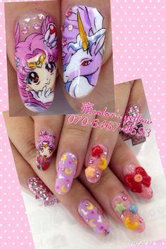MOON PRISM POWER! MAKE-UP XD ❤ Kawaii Nail Art, Cute Nail Art, 3d Nail Art, Cute Nails, My Nails, Sailor Moon Nails, Anime Nails, American Nails, Unicorn Nails