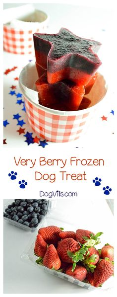 Homemade Dog Food This tasty very berry frozen dog treat recipe requires just two ingredients and is yummy enough for you to enjoy too! Check it out! - Tasty for your dog AND you! Puppy Treats, Diy Dog Treats, Healthy Dog Treats, Dog Biscuit Recipes, Dog Treat Recipes, Dog Food Recipes, Food Tips, Cooking Tips, Homemade Dog Cookies