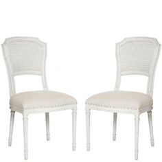 Cane Back White Dining Chairs: