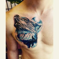 Tattoo wolf landscape blue colorfull