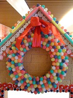 A gumdrop wreath made on a styrofoam wreath form.