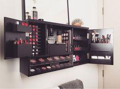 This is serious make up love. Im so excited to finally bring out this new makeup organizer that I designed to make your life that much easier! Its the ultimate makeup vanity solution Wall Mounted Makeup Organizer, Make Up Organizer, Make Up Storage, Vanity Organization, Storage Ideas, Organization Ideas, Wall Storage, Beauty Organizer, Bedroom Organization