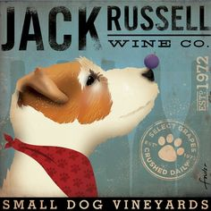 Jack Russell Wine Company original graphic art on by geministudio, $80.00