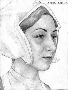 Sketch of Anne Boleyn by Emma Pooley based on Hans Holbein's sketch. Anne Boleyn Tudors, Tudor History, British History, Asian History, Renaissance Image, Tudor Era, Tudor Style, Strange History, History Facts