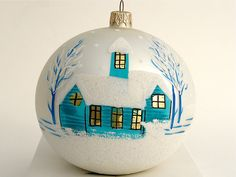 Hand Painted Christmas Ornament Glass by aniamelisa on Etsy, $18.90