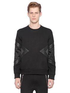 bd1bc35d4e7 NEIL BARRETT Neoprene Sweatshirt With Inserts, Black. #neilbarrett #cloth  #sweatshirts