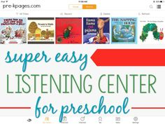 How to use an iPad as a listening center in your preschool, pre-k, or kindergarten classroom. Quick and easy way to set up an independent listening center. Preschool Centers, Kindergarten Literacy, Easy Listening, Listening Centers, Classroom Design, Classroom Setup, Listen To Reading, Pre K Pages, Preschool Lesson Plans