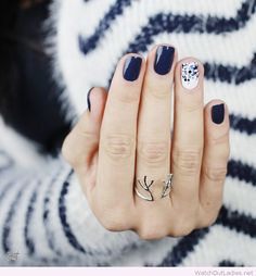 Navy nails with glitter, love the ring design too