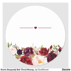 Shop Rustic Burgundy Red Floral Monogram Wedding Favor Classic Round Sticker created by CardHunter. Eid Stickers, Round Stickers, Custom Stickers, Wedding Favours Thank You, Bridal Shower Flowers, Printable Scrapbook Paper, Floral Logo, Wedding Background, Floral Border